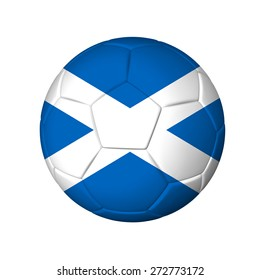 Soccer football ball with Scotland flag. Isolated on white.