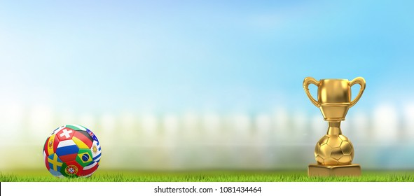 soccer football ball in soccer stadium with golden trophy and 3d illustration
