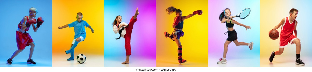 Soccer football, basketball, taekwondo, boxing and tennis. Collage of different little sportsmen in action and motion isolated on multicolored background in neon. Flyer. Sport for kids concept