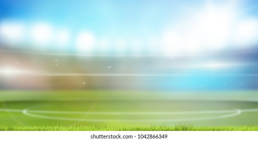soccer football blank sport stadium lawn green grass flood lights 3d rendering