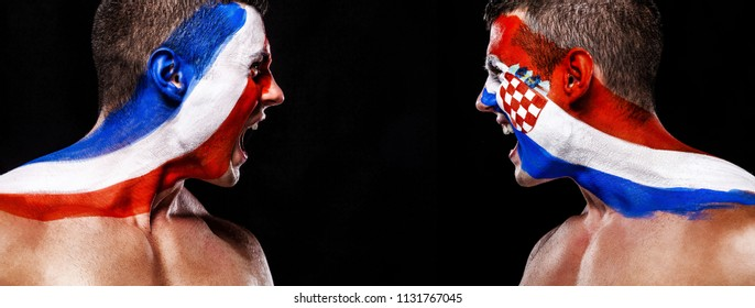 Soccer or football fan athlete with bodyart on face - flags of France vs Croatia. Sport Concept with copyspace. Final.