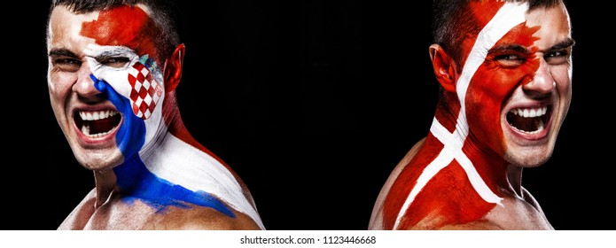 Soccer or football fan with bodyart on face with agression - flag of Croatia vs Denmark.