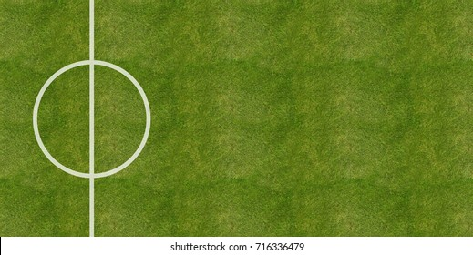 Soccer football field grass center background, top view