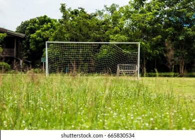 soccer football goal through the net.