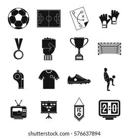 Soccer football icons set. Simple illustration of 16 soccer football  icons for web