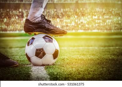 soccer football kick off in the stadium