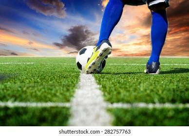 Soccer football kick-off