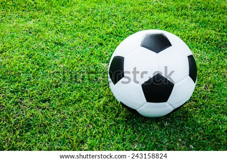 Soccer Football On Grass Field In Stock Photo Edit Now 243158824