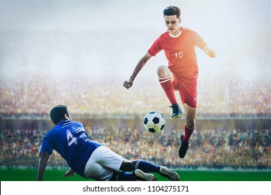 soccer football player competing in the stadium during match