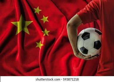 soccer football player on china flag background