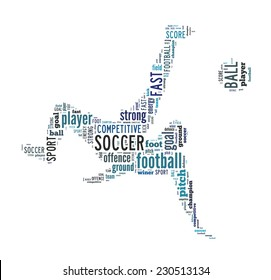 Soccer, football player scissors kick shape word cloud