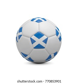 Soccer football with Scotland flag. 3D Rendering