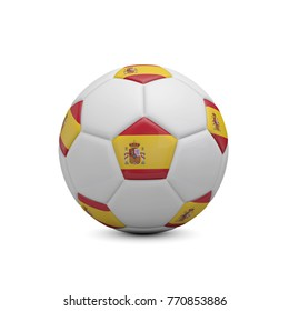 Soccer football with Spain flag. 3D Rendering