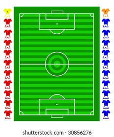 A soccer football tactical pitch with movable players