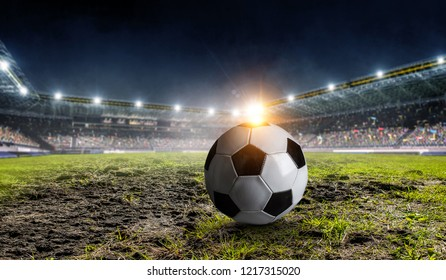 Soccer game concept. Mixed media - Shutterstock ID 1217315020