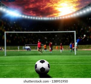 Soccer gamers on the soccer stadium