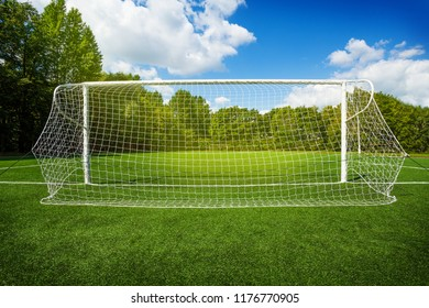 Soccer gates on the empty recreational stadium