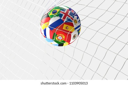 soccer goal. soccer ball flags concept in soccer net 3d rendering