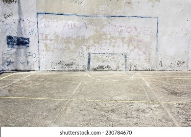 Soccer goal drawn on a wall on concrete playground in Corniglia, Italy