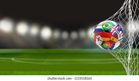 soccer goal with flag of russia soccer ball 3d rendering in soccer net