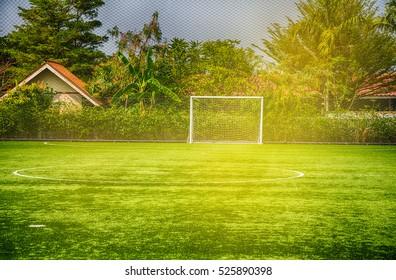 Soccer Goal or Football Goal with sunlight