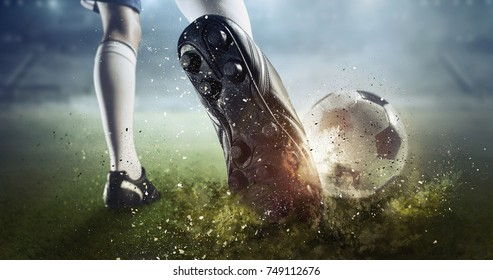 Soccer goal moment. Mixed media