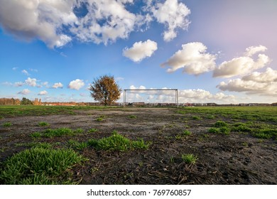 soccer goal with tree, skyline and cloudscape