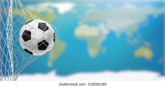 soccer goal world map 3d-illustration.elements of this image furnished by NASA