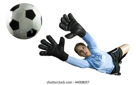 Soccer Goalie leaps for the ball to block