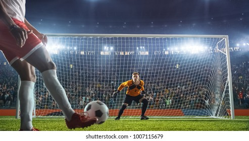 Soccer goalkeeper in action on the soccer stadium. He wear unbranded sports clothes. Stadium and crowd made in 3D.