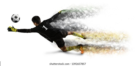Soccer goalkeeper catches the ball on white background - Image