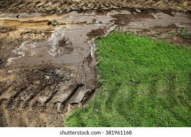 Soccer grass changing