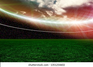 Soccer green field with lights