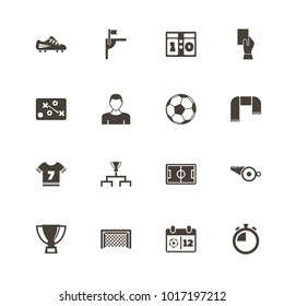 Soccer icons. Flat Simple Icon - Gray Illustration on White Background.