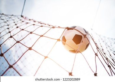 Soccer into goal success concept
