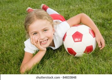 Soccer - Little soccer player portrait