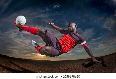 Soccer man in action with ball