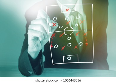 Soccer manager drawing tactic chart
