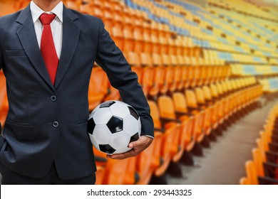 soccer manager on grandstand