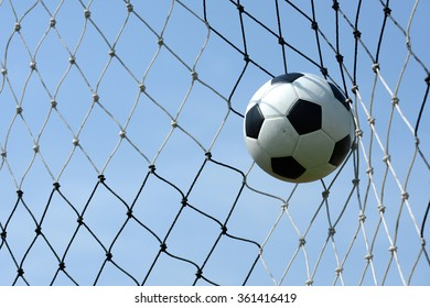 Soccer match, The ball kick in goal with net