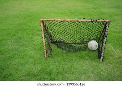 soccer mini goal background Green lawn