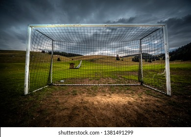 Soccer net captured on a stormy  day