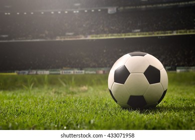 soccer on grass  and stadium.