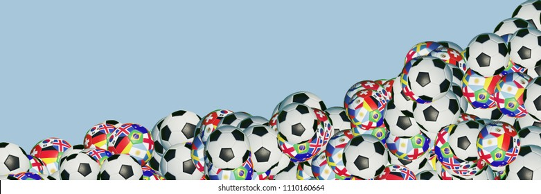 Soccer panorama banner with many soccer balls in different designs, some with many countries flags (3D Rendering)
