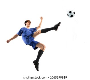 soccer player in action isolated white background