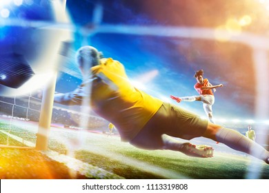 Soccer player in action on the grand football arena