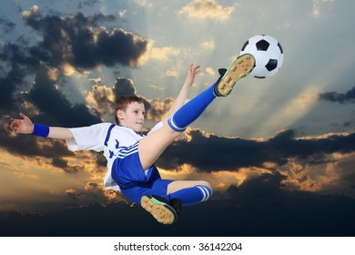 soccer player against the backdrop of cloudy skies