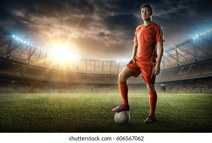 soccer player with a ball on a soccer field