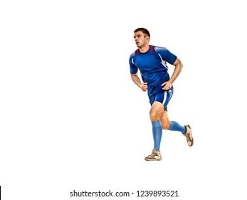 Soccer player in blue uniform running, isolation on white