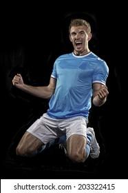 Soccer player celebrates his goal